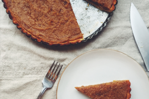 Treacle tart with orange and polenta