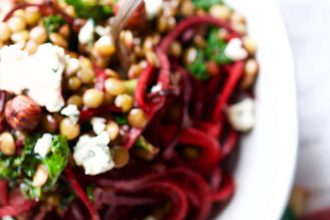 Beetroot spaghetti with green lentils, hazelnuts, kale & gorgonzola cheese