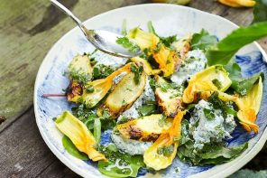 Roasted Butternut Squash with Spiced Chickpeas, Spinach and Goats Cheese