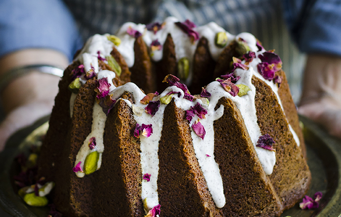 Rose and Pistachio Bundt Cake