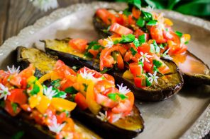 Roasted Aubergine with Kumquat Salsa