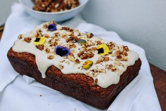Spiced Carrot Loaf with Cashew Dressing made with spelt flour, coconut sugar and a mix of winter spices