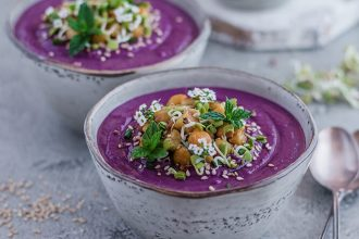 Purple Sweet Potato, Chickpea, and Ginger Soup