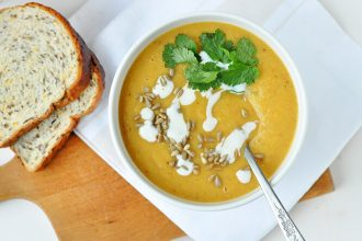 Curried, Roasted Parsnip Soup packed with warming winter spices