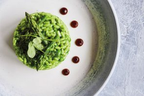 Risotto with Asparagus and Basil Purée