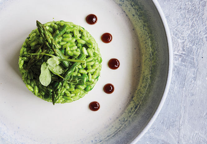 Risotto with Asparagus and Basil Purée - Thrive Nutrition and Health Magazine