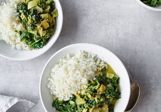 Nourishing Vegan Kale and Spinach Curry - Thrive Nutrition and Health Magazine