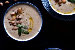 Sage, Onion and White Bean Soup made with lots of garlic, rich butterbeans and sage - Thrive Nutrition and Health Magazine