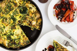 Simple Autumn Vegetable Frittata made with new potatoes, courgettes, broccoli and asparagus