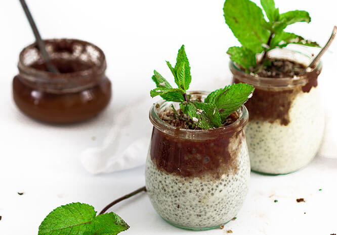 Mint Chocolate Chia Pudding made with chia seeds, mint leaves and dark chocolate