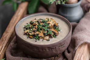 White Sweet Potato and Mushroom Soup