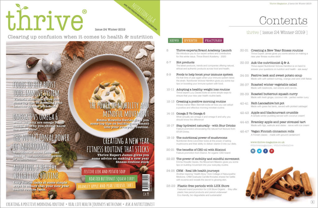 thrive magazine winter issue - contents