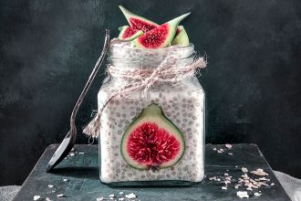 Chia Seed and Fig Breakfast Jar plant-based, gluten free and refined sugar free breakfast.