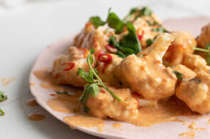 Spicy Cauliflower with Cashew Cream Sauce