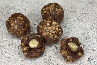 Raw Hazelnut Truffles made whole and chopped hazelnuts and dates